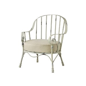 LOUNGE CHAIR, METAL SHABBY CHIC
