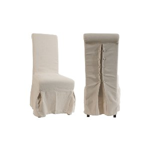 SLIPPER CHAIRS, OATMEAL LINEN