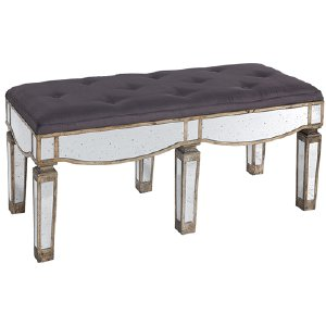 MERCURY MIRROR GRAY TUFTED BENCH