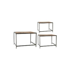 S/3 WOOD AND METAL NESTING TABLES