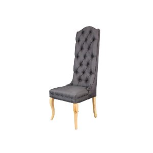 TUFTED GRAY LINEN CHAIR