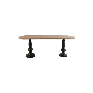 OVAL WOOD TABLE TOP WITH METAL LEGS