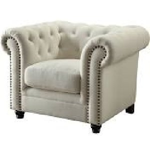 TUFTED WHITE SIDE CHAIR