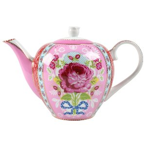 PINK FLORAL PORCELAIN TEA POT