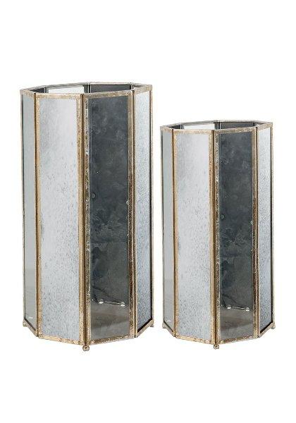 Antique Mercury Mirror Lanterns Set