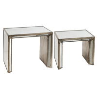 ANTIQUE MIRRORED NESTING COFFEE TABLES