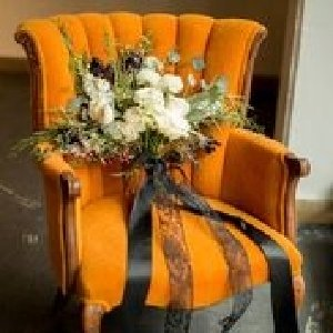 Lucy - Orange Mohair Chair