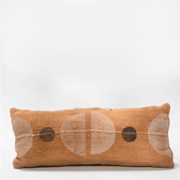 Pillow // Rust Mudcloth Color Block (lumbar)