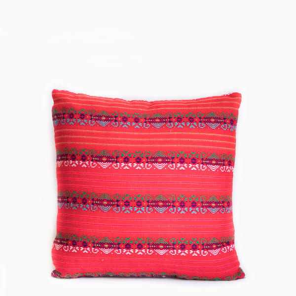 Pillow // Mexican Embroidered Pillow, Fuschia