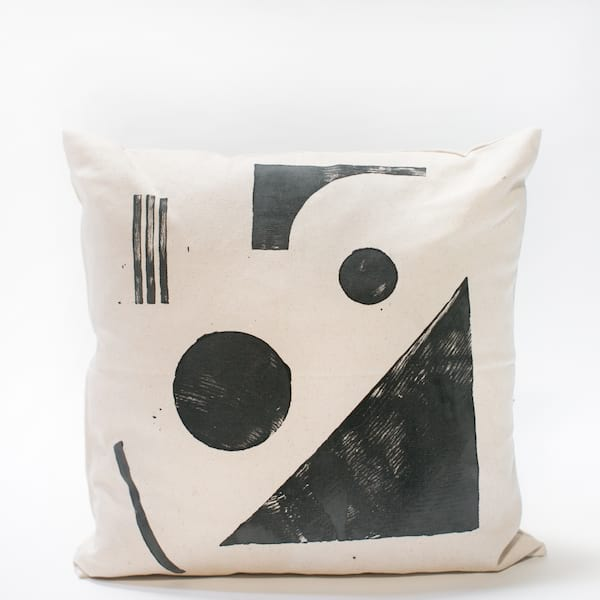 Pillow // Black Block Print