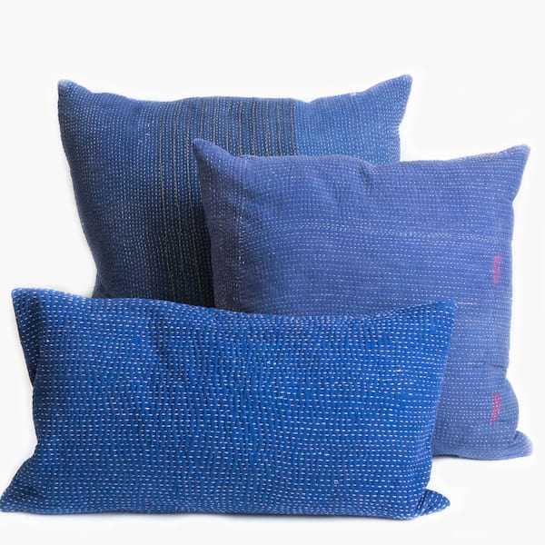 Indigo Kantha Pillows (set of 3)