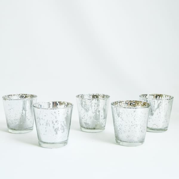 Large Silver Mercury Glass Votives