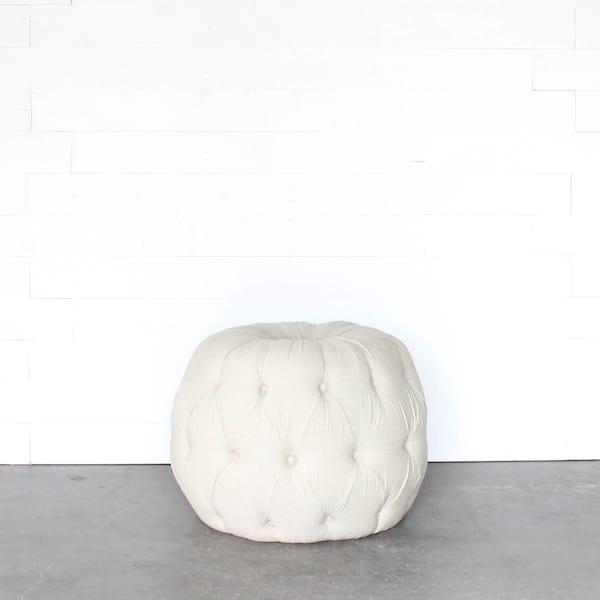 Large Linen Pouf