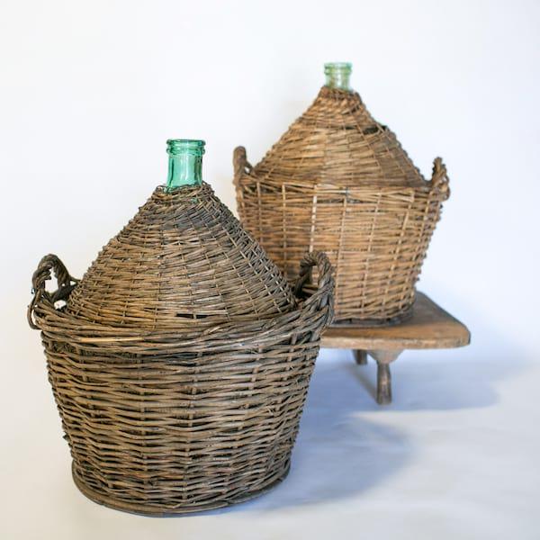 Demijohn in Wicker Basket // Large