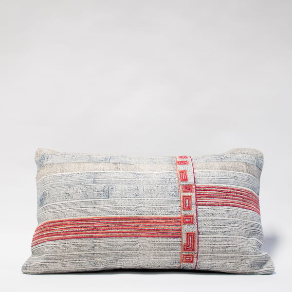 Emroidered Indigo Lumbar PIllow