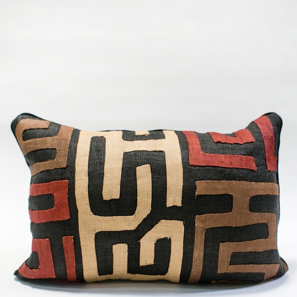 Pillow // Kuba Cloth - Red/Tan