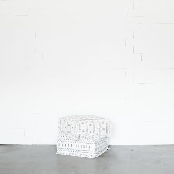White Mudcloth Floor Cushion