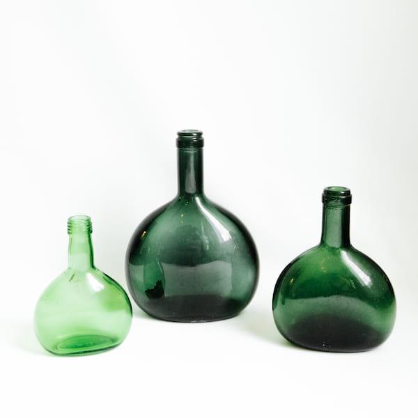 Assorted Green Bottles