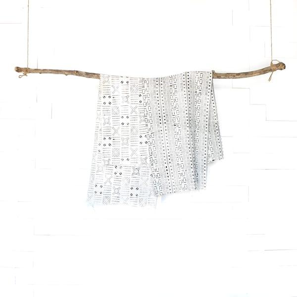 White Mudcloth Blankets