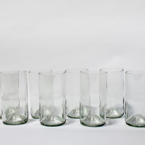 Recycled Wine Bottle Glasses - Tall Clear