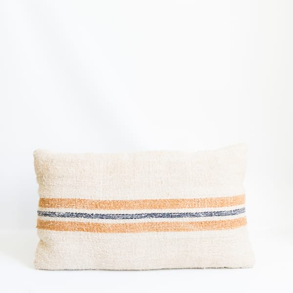 Pillow // Grainsack Gold + Blue Stripe