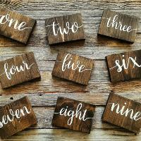 Table Numbers: Wood + Calligraphy