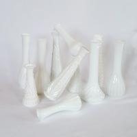 Bud vases, milk glass