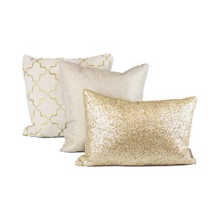 Gold + Linen Pillow Set