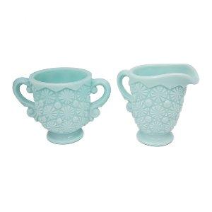 Blue Milk Glass Cream and Sugar Set