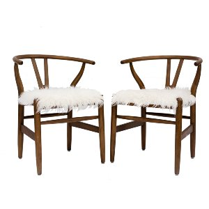 Wood & Fur Chairs (pair)