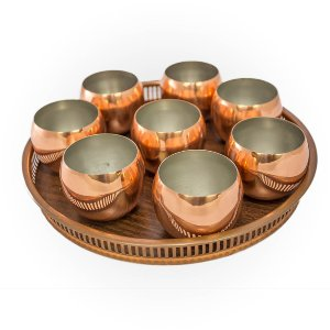 Copper Tray with Mugs
