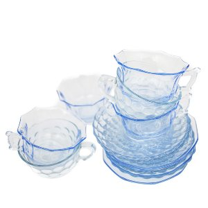 Blue Depression Glass Teacups + Saucers