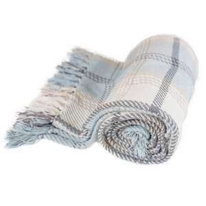 Blue Plaid Throw Blanket