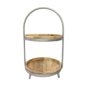 Wood 2-Tier Serving Stand