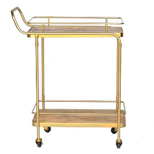 Brass and Wood Bar Cart