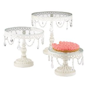 White & Silver Crystal Cake Stands
