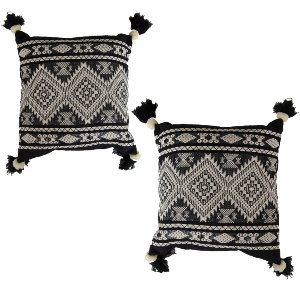 Black + Cream Boho Pillow Set