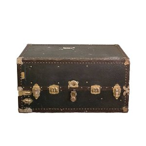 Black Leather Steamer Trunk