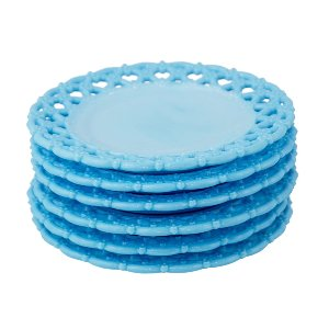 Blue Milk Glass Dessert Plates