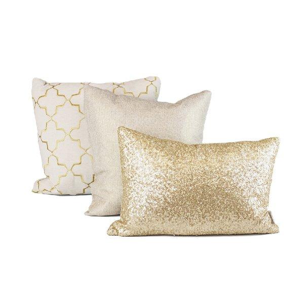 Gold + Linen Pillow Set