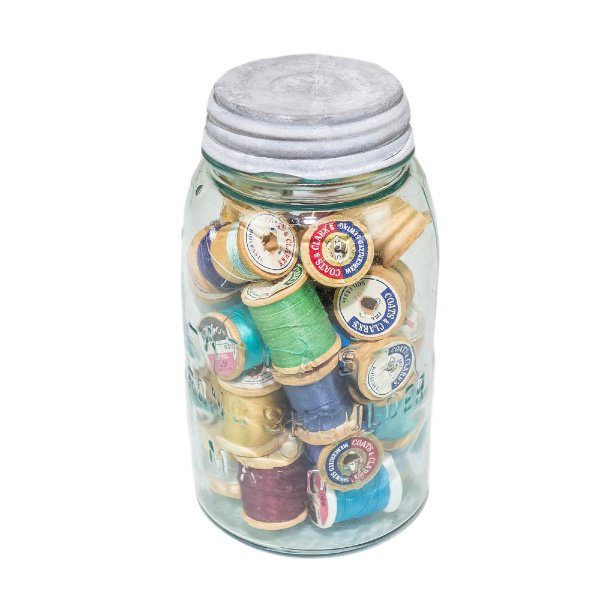 Mason Jar with Spools
