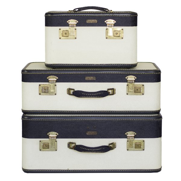 Navy Blue and White Luggage Trio
