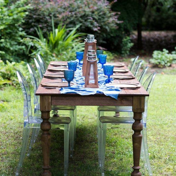 Blue Gauze Table Runner