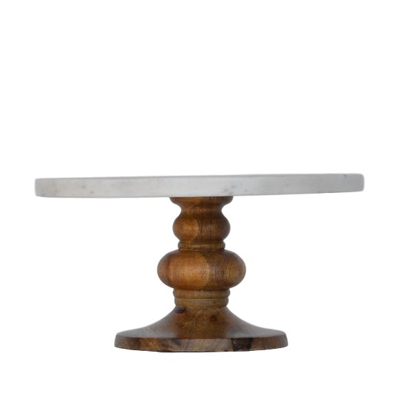 Large Marble + Wood Pedestal