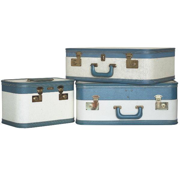 Aero-Pak Blue and White Luggage Set