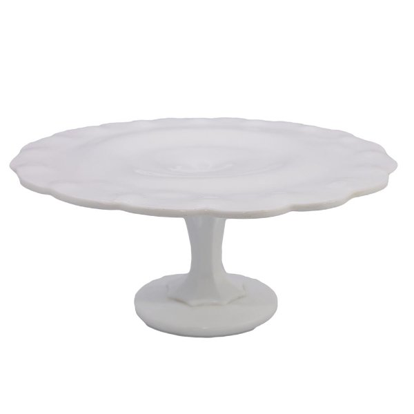 Scalloped White Milk Glass Stand