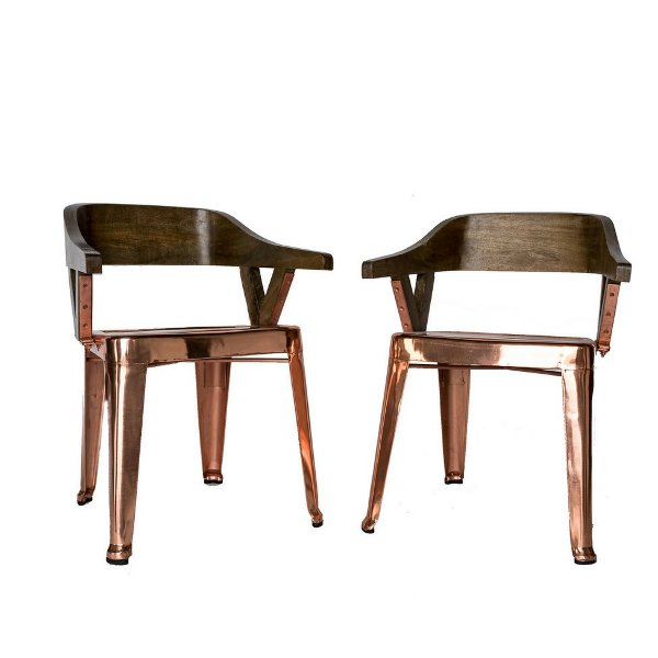 Copper & Wood Chairs (pair)