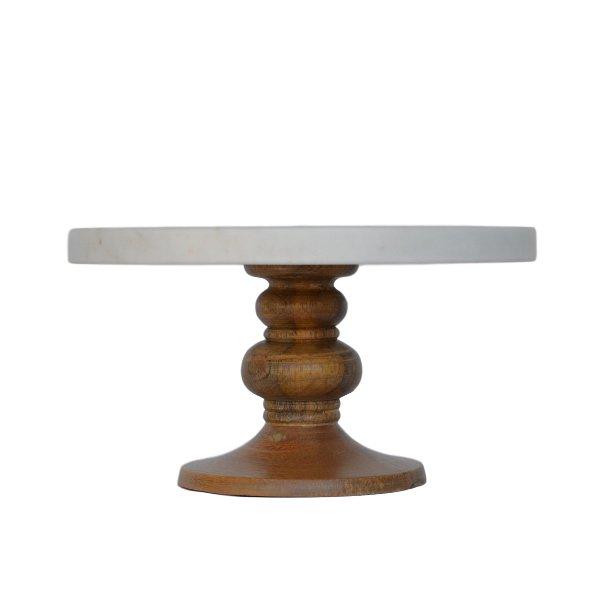 Medium Marble +Wood Pedestal