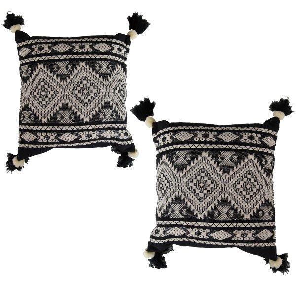 Black + Cream Boho Pillow Set