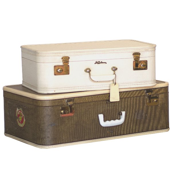 Brown and Cream Luggage Pair